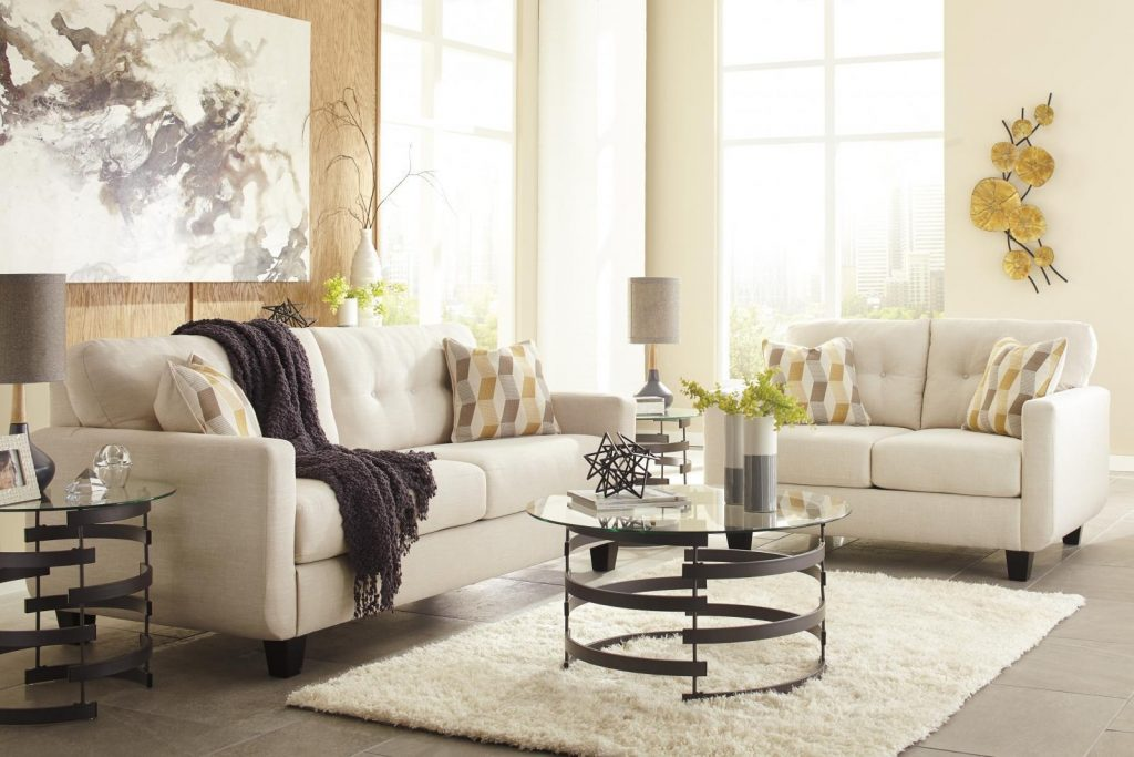 Ashley Drasco Living Room Set 2pc In Marble Upholstery Fabric
