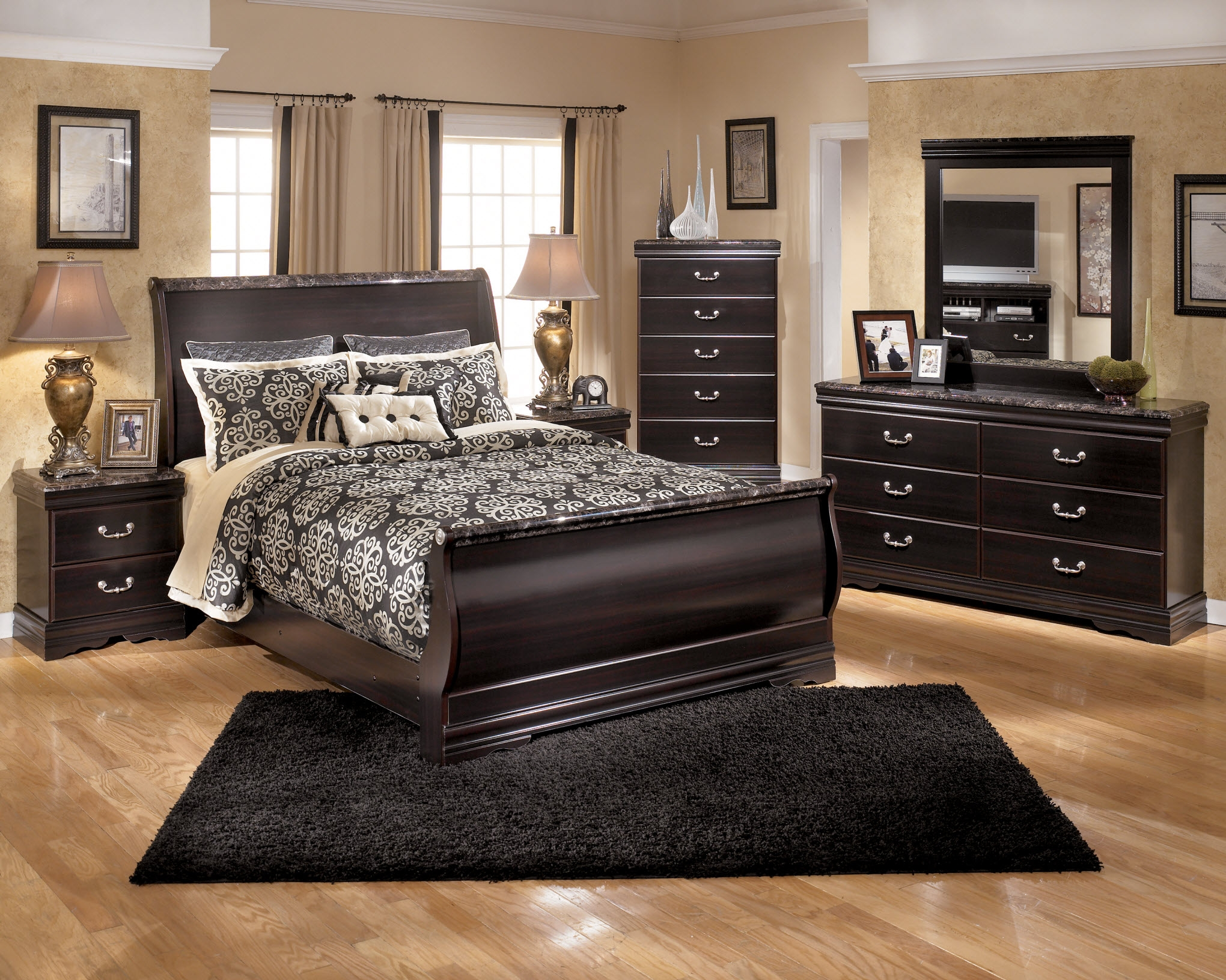 Picture of: Ashley Marble Top Bedroom Set At Bedroom Furniture Discounts Layjao
