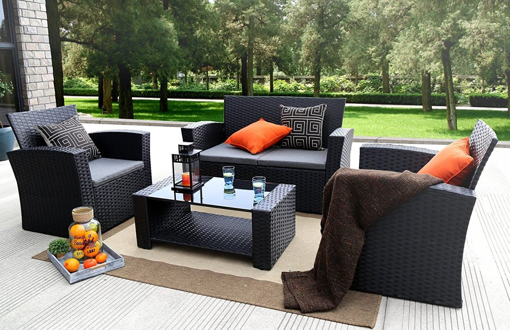 Baner Garden 4 Pc Outdoor Wicker Cushion Seating Set