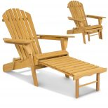 Best Choice Products Outdoor Wood Adirondack Chair Foldable W Pull