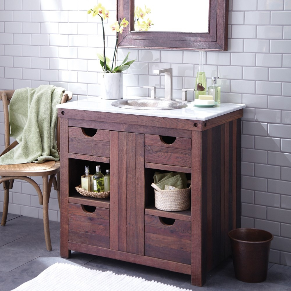 Cabernet Weathered Oak Bathroom Vanity 36 Inch Native Trails