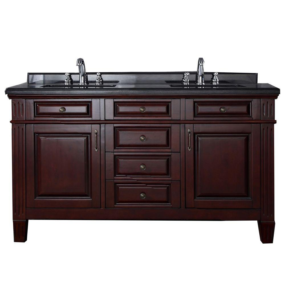 Carsen 60 In Vanity In Chocolate With Granite Vanity Top In Black