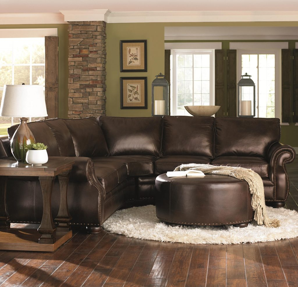 Chocolate Brown Leather Sectional W Round Ottoman Love Love Love