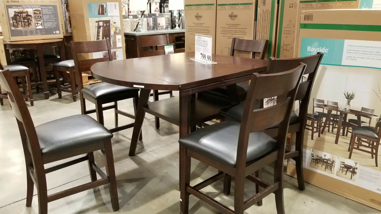 Costco Bayside Counter Height Table Round Square With 9 Chairs ...
