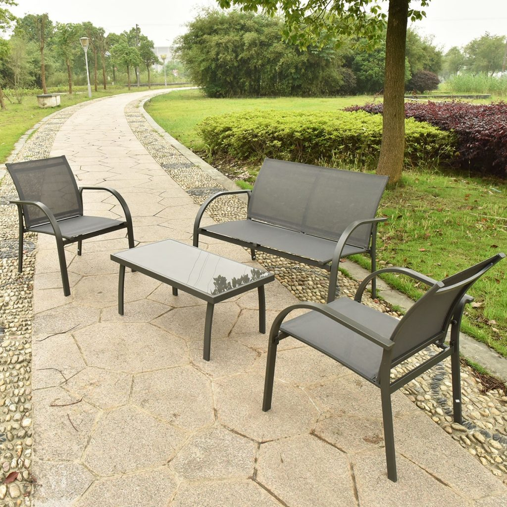 Costway 4pcs Patio Garden Furniture Set Steel Frame Outdoor Lawn