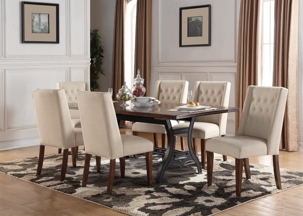 Creston 5 Piece Dining Set With 4 Tufted Ch At Morris Home