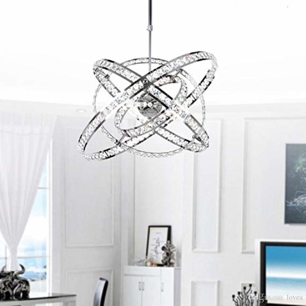 Crystal Modern Sphere Orb Globe Cage Round Pendant Fixtures Dining