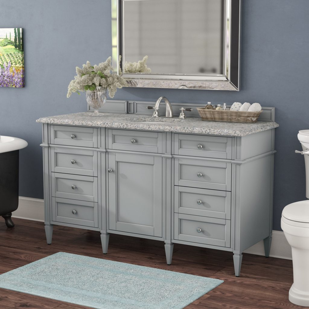 Dar Home Co Deleon 60 Single Urban Gray Stone Top Bathroom Vanity