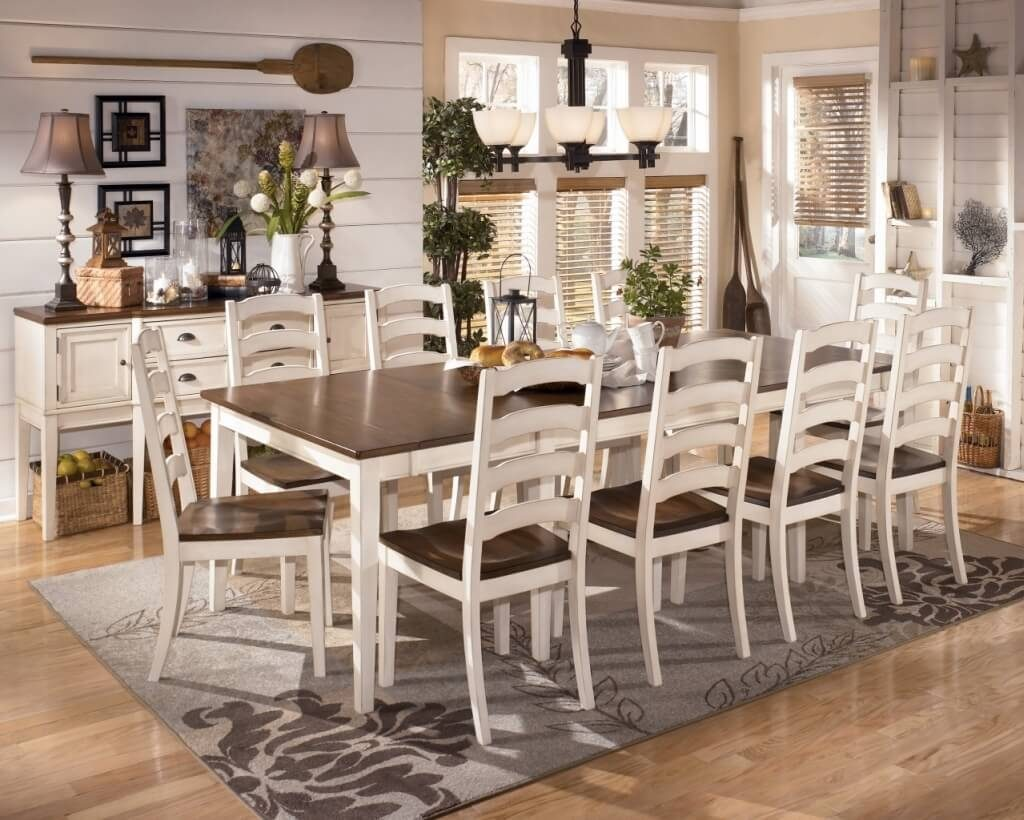 Dining Room Antique White Dining Room Table With Wooden Pedestal
