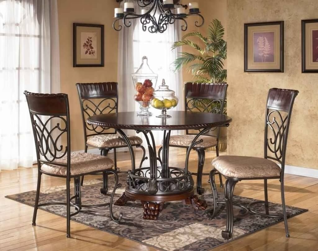 Dining Room Charming Wooden Four Legged Round Dining Table Sets