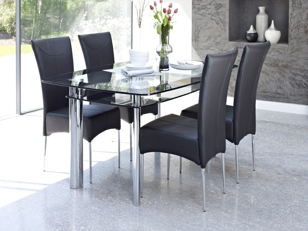 Dining Room White Glass Round Dining Table Glass Table Dinette Set