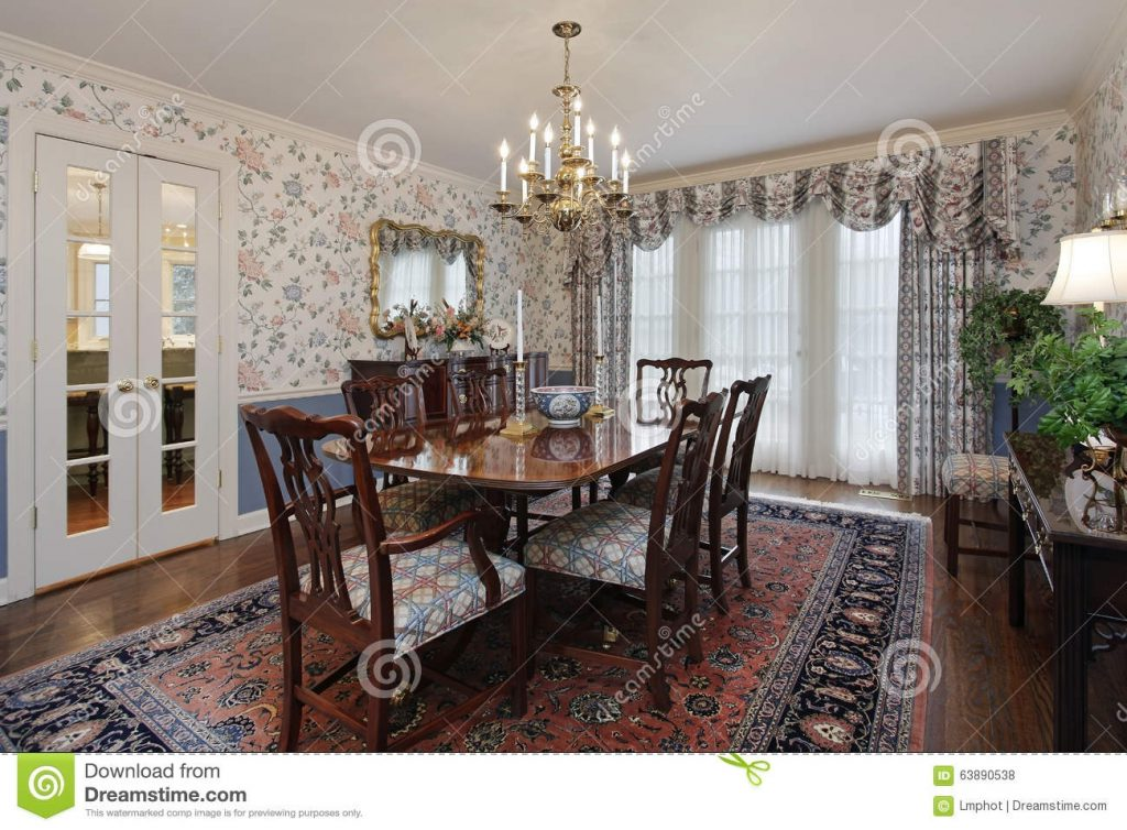 Dining Room With French Doors Stock Photo Image Of Chair Carpet