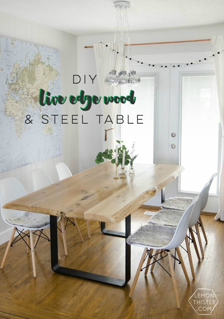Diy Live Edge Table With Steel Base Dining Rooms Pinterest