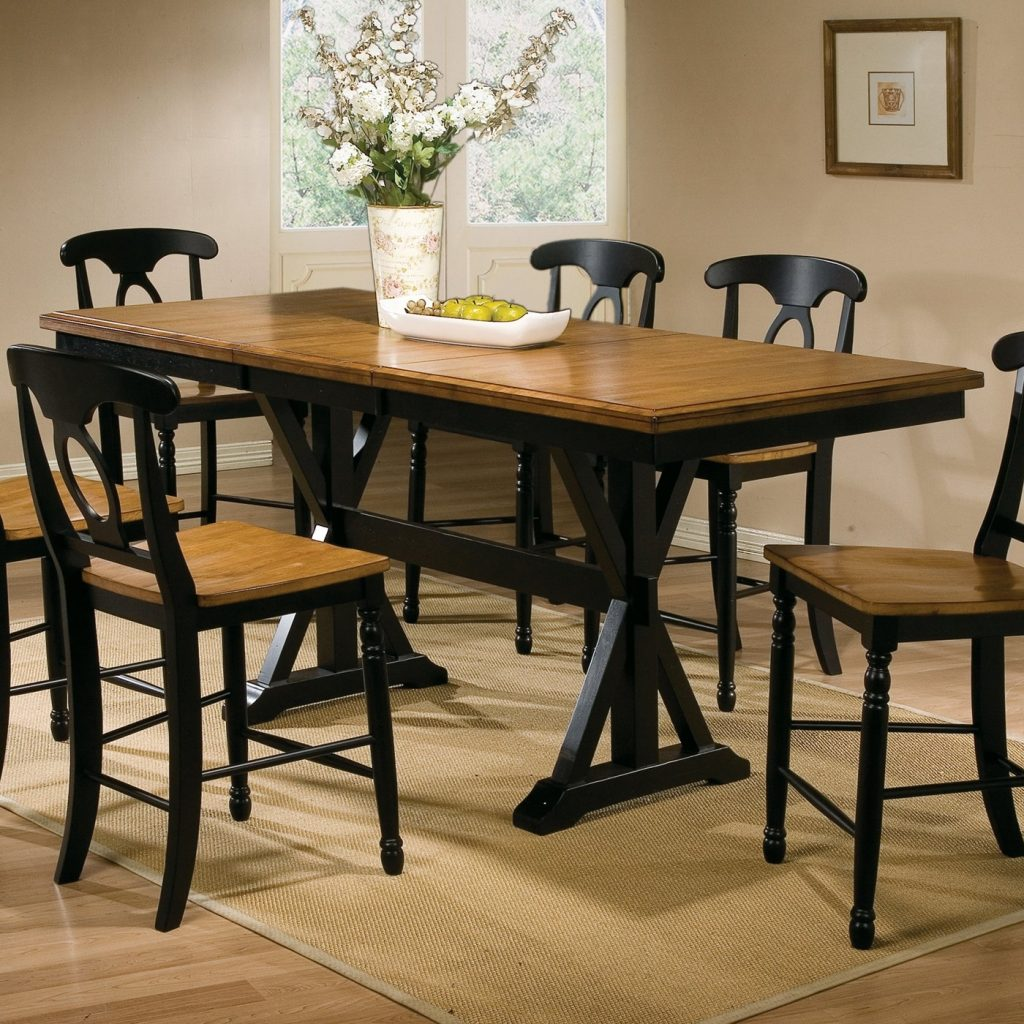 Double Trestle Pedestal Bar Height Dining Table Set And Six Matching
