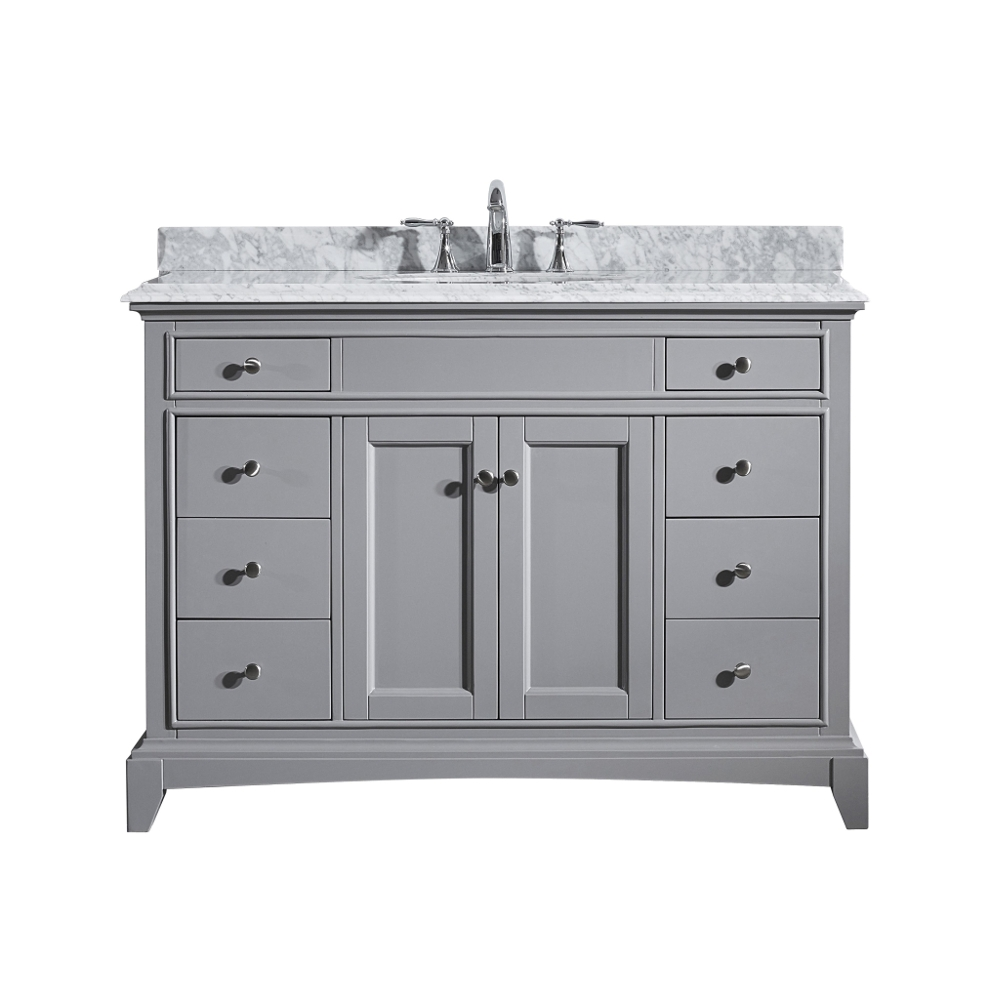Eviva Elite Stamford 42 Grey Solid Wood Bathroom Vanity Set With
