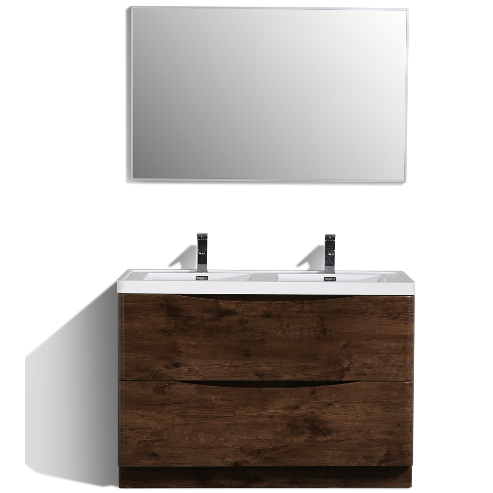 Eviva Smile 48 Rosewood Modern Bathroom Vanity Set With Integrated