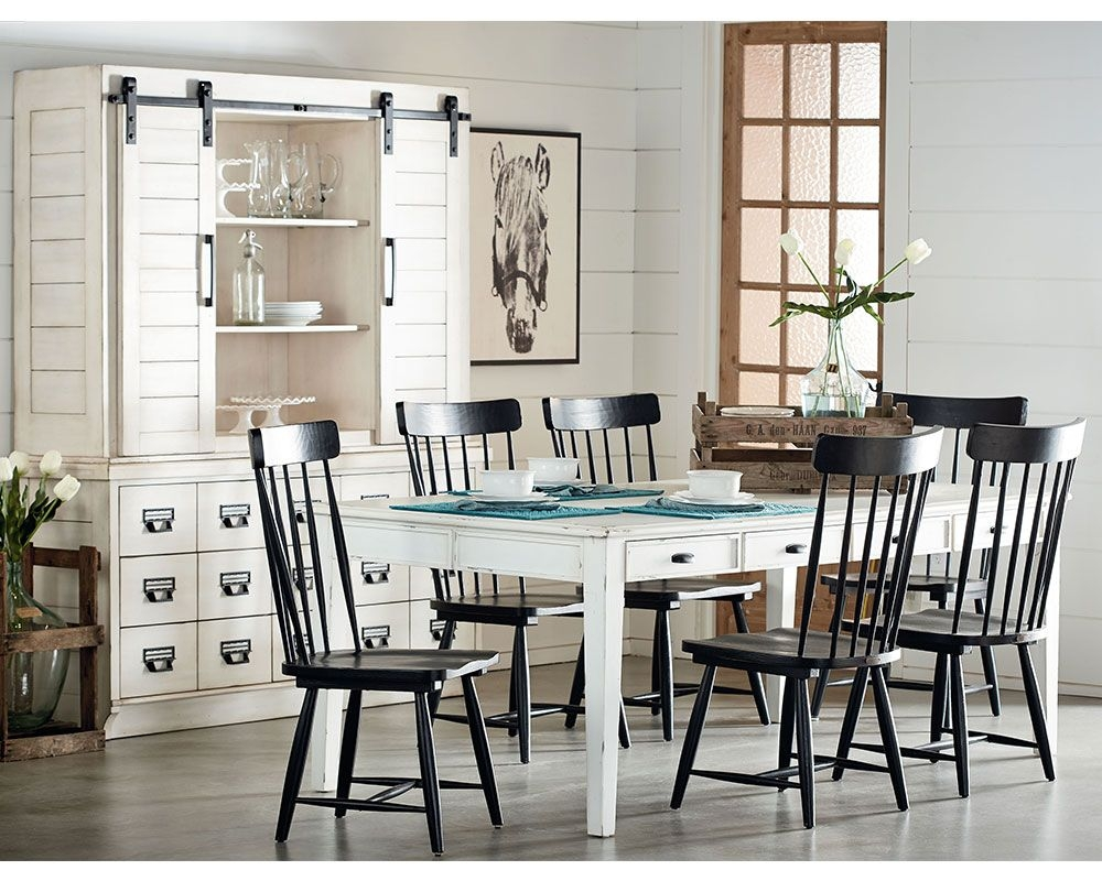 Farmhouse Dining With Black Spindle Chairs Gamburgs Furniture