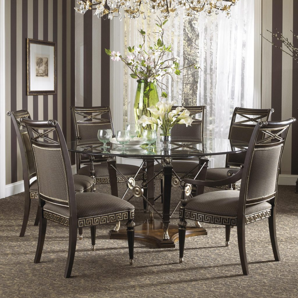 Formal Grecian Style Glass Top Dining Set With Six Chairs Fine