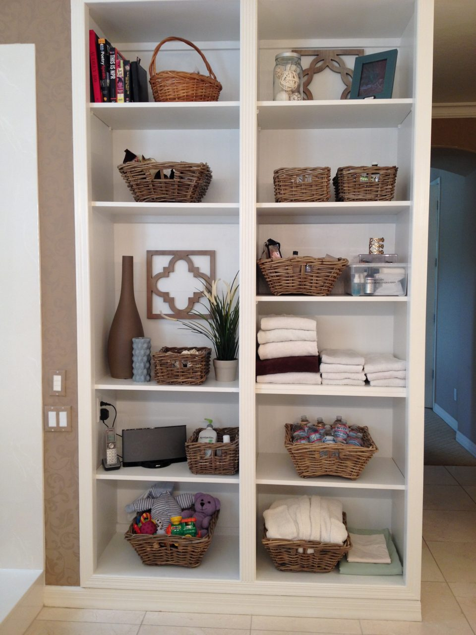 Furniture Charming Storage Shelves With Rattan Baskets For Organize