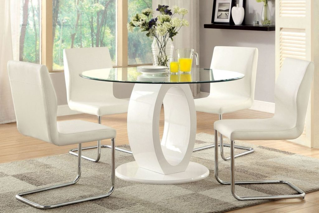 Furniture Of America Lodia I White Glass Top Round Pedestal Dining
