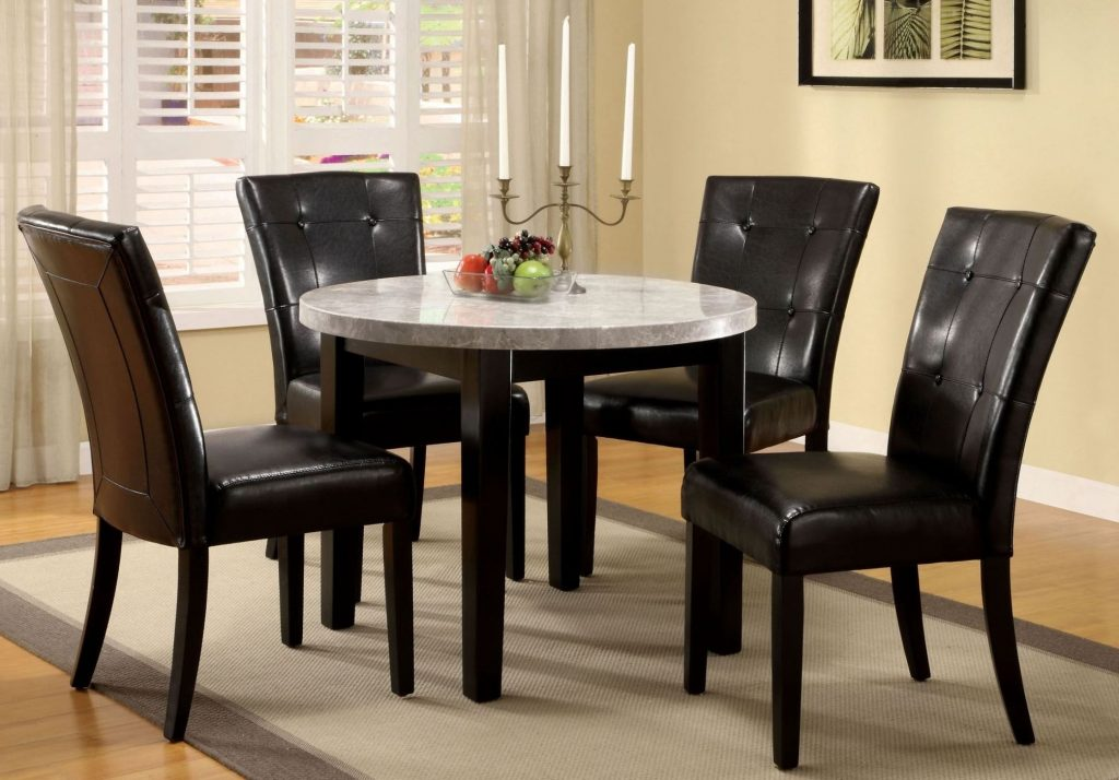 Furniture Of America Marion I Marble Top Round Dining Room Set