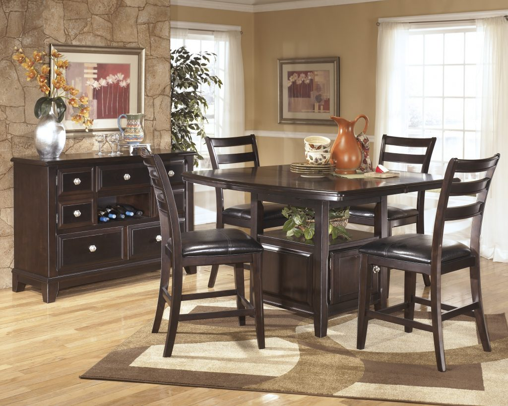 Glamorous Dining Room Furniture Wood Curved Pedestal High Top
