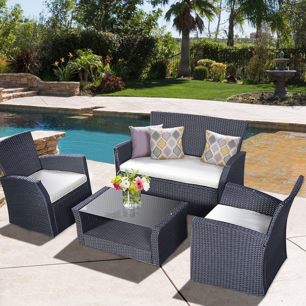 Goplus 4pcs Outdoor Patio Furniture Set Wicker Garden Lawn Sofa