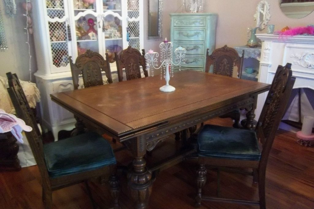 Gothic Dining Room Table Set With 6 Chairs And Server Buffet In