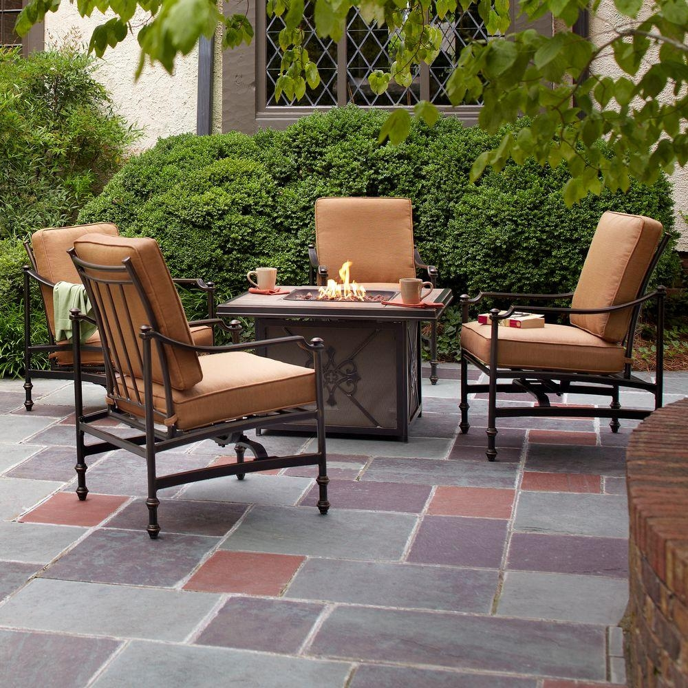 Hampton Bay Niles Park 5 Piece Gas Fire Pit Patio Seating Set With