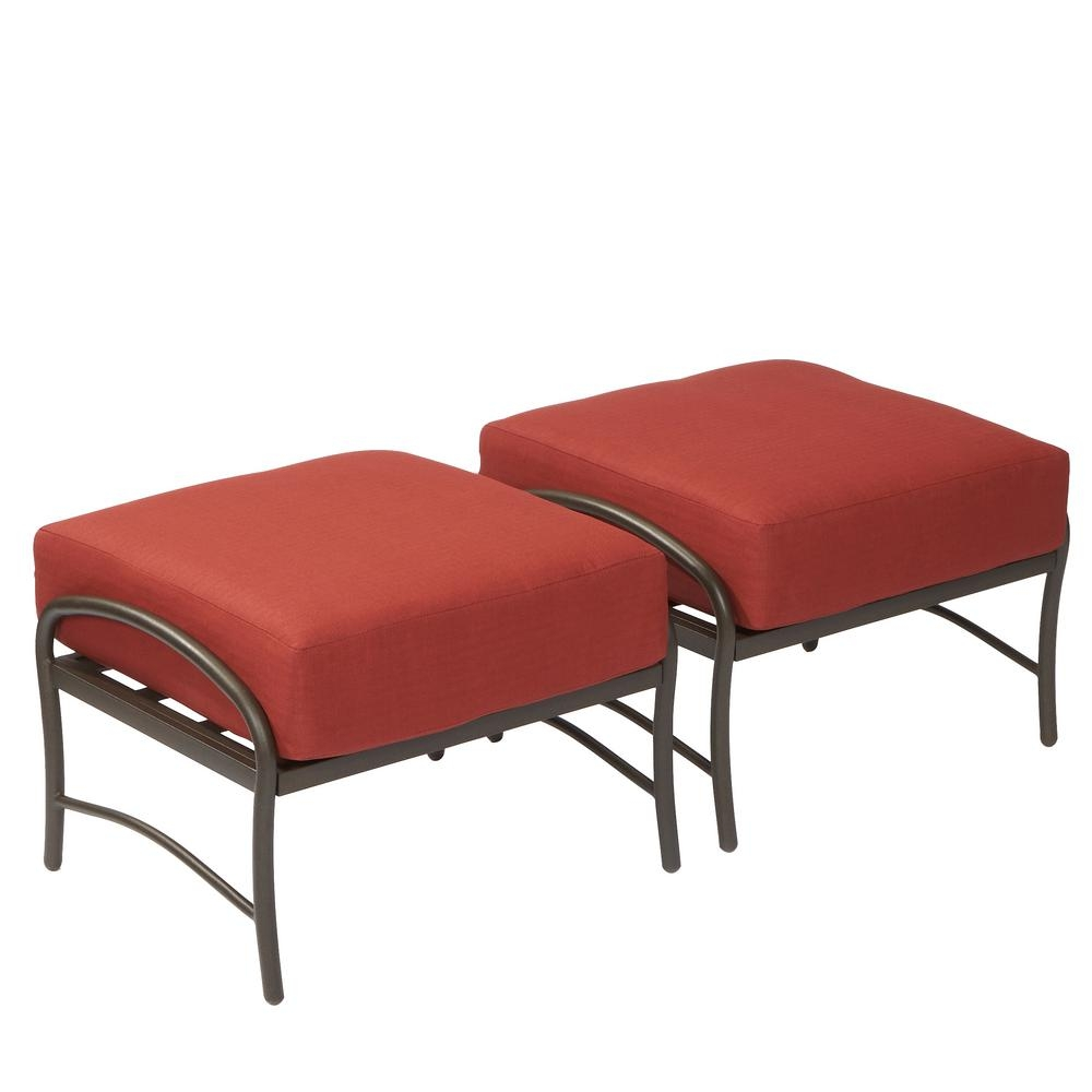Hampton Bay Oak Cliff Metal Outdoor Ottoman With Chili Cushion 2