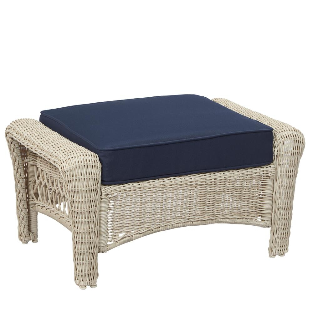 Hampton Bay Park Meadows Off White Wicker Outdoor Ottoman With