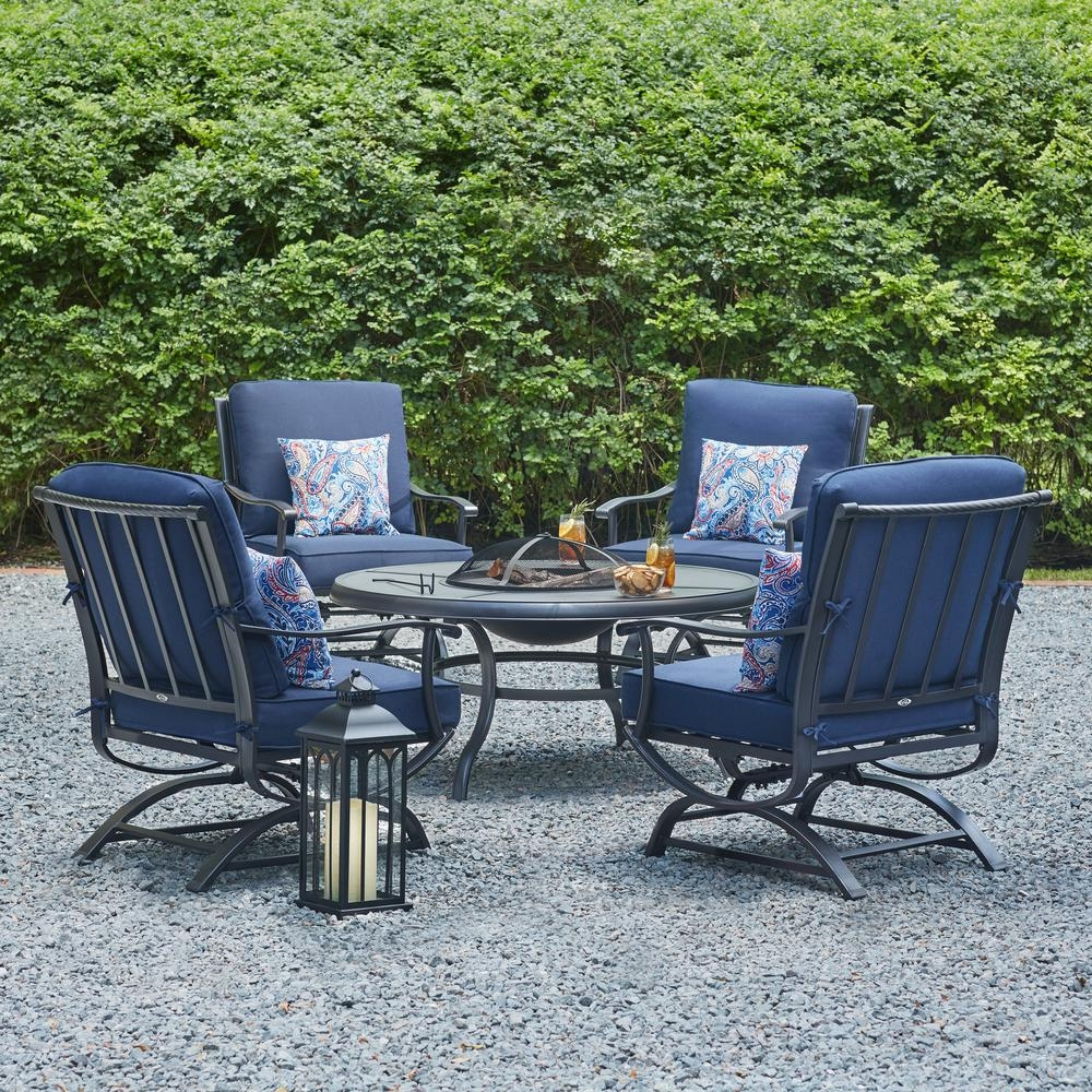 Hampton Bay Redwood Valley Steel 5 Piece Patio Fire Pit Seating Set