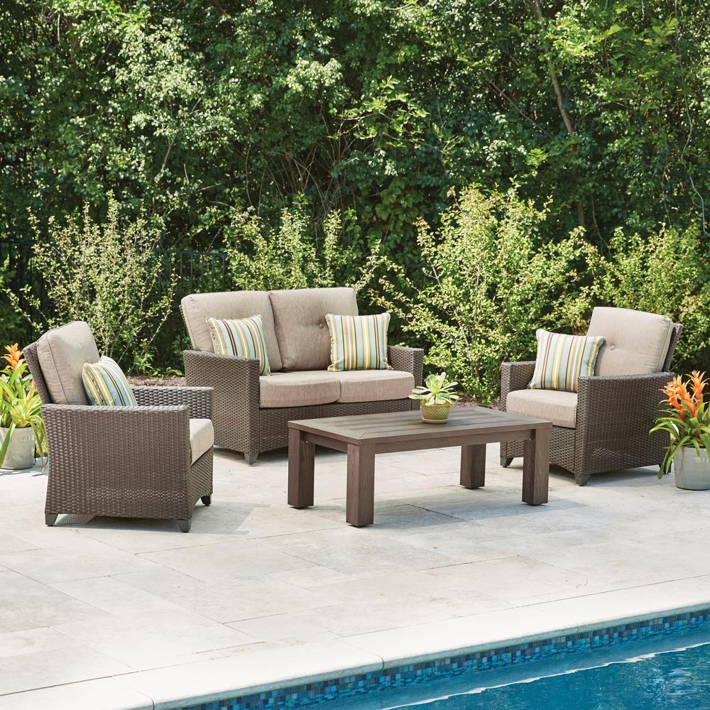 Hampton Bay Tacana 4 Piece Wicker Patio Deep Seating Set With Beige