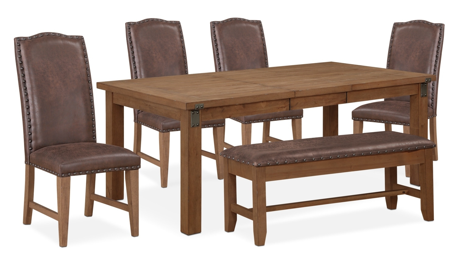Hampton Dining Table 4 Upholstered Side Chairs And Storage Bench Layjao