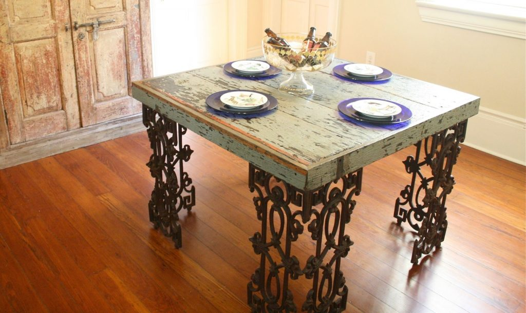 Hand Made New Orleans Dining Room Table Made From Distressed Wood