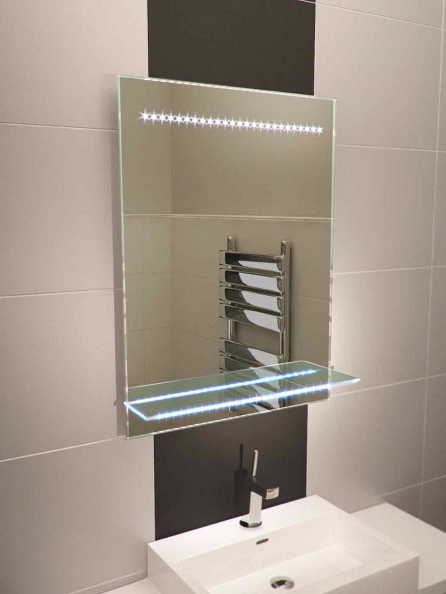 Hib Del Bathroom Mirror With Shelf Cabinet Lights And Shaver