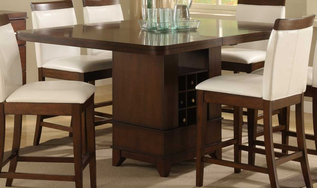 Homelegance Elmhurst Counter Height Table With Wine Storage Moh