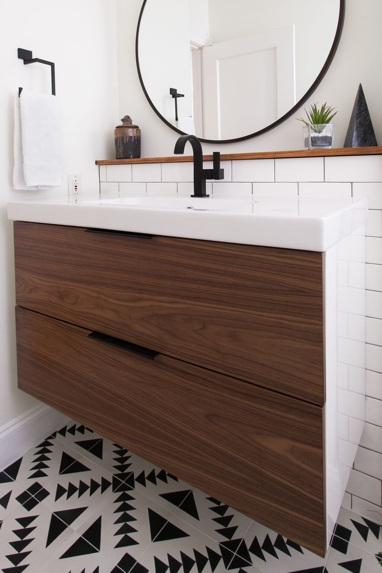Ikea Vanity With Custom Walnut Drawer Fronts Bathroom Ideas In