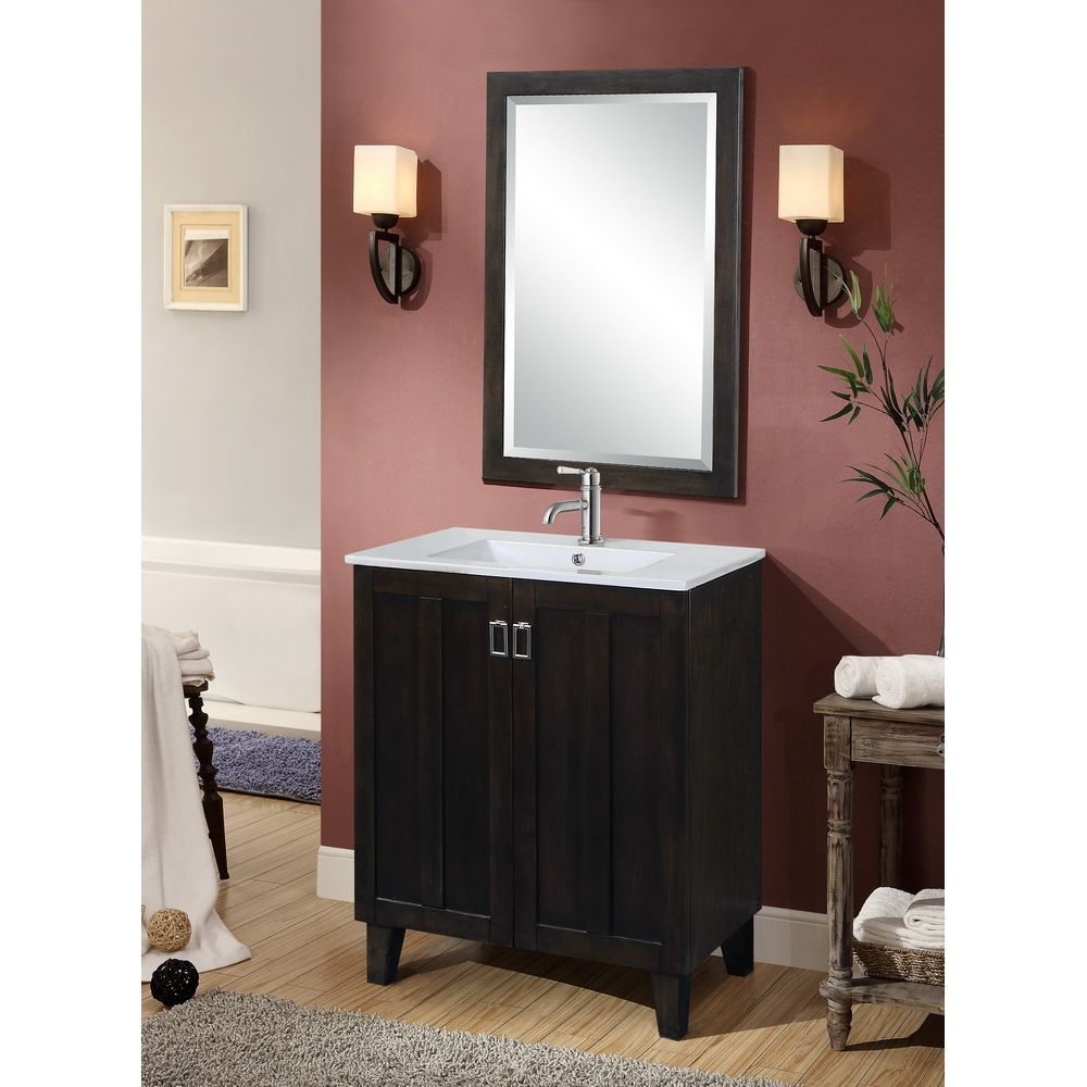 In Series 30 Inch Classic Single Sink Bathroom Vanity Dark Brown Finish
