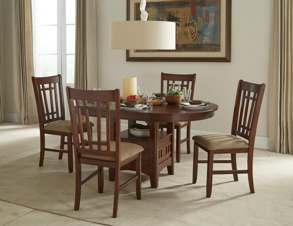 Intercon Mission Casuals Oval Dining Table Set With Cushioned Side