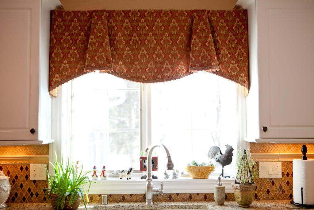 Kitchen Pretty Brown Fabric Curtain Valance Kitchen Window Ideas