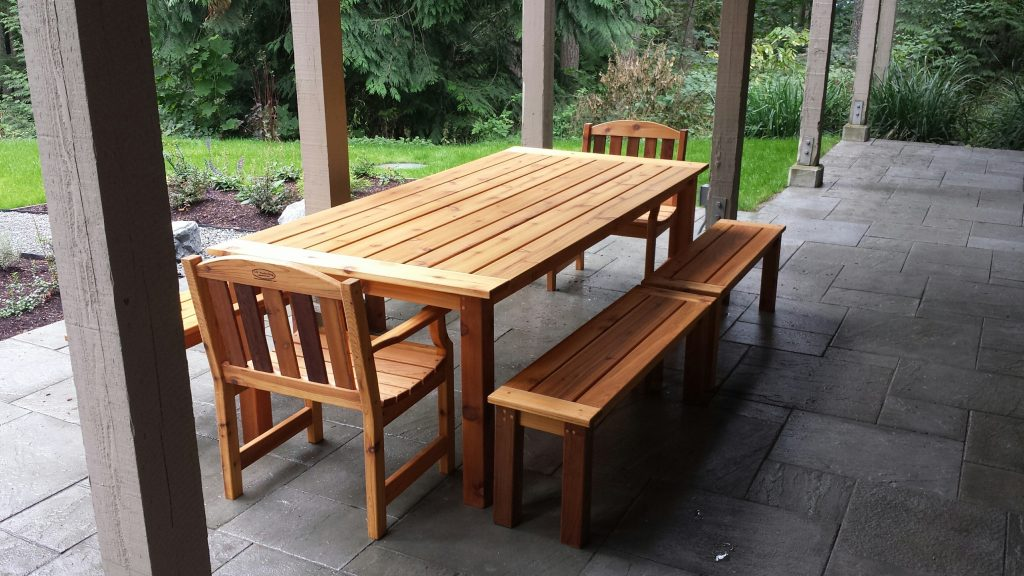Langley Outdoor Dining Table 2 Adirondack Chairs Seattle