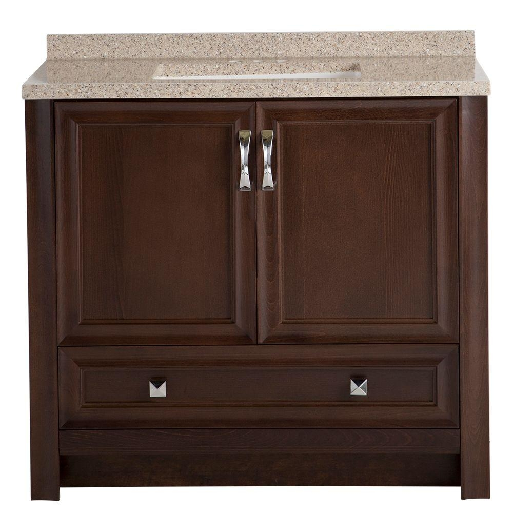 Medium Brown Bathroom Vanities Bath The Home Depot