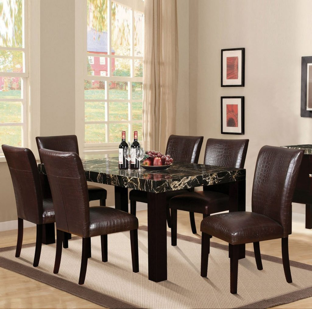 Modern Dining Set Marble Top Acme 70115 Hot Sectionals