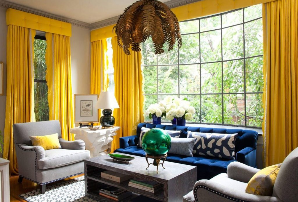 Modern Living Room Yellow Curtains Yellow And Blue Colour Scheme