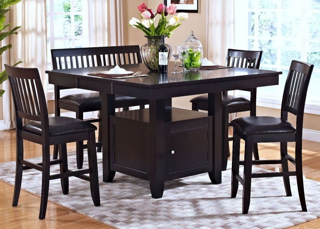 New Classic Kaylee Espresso Counter Height Storage Dining Room Set