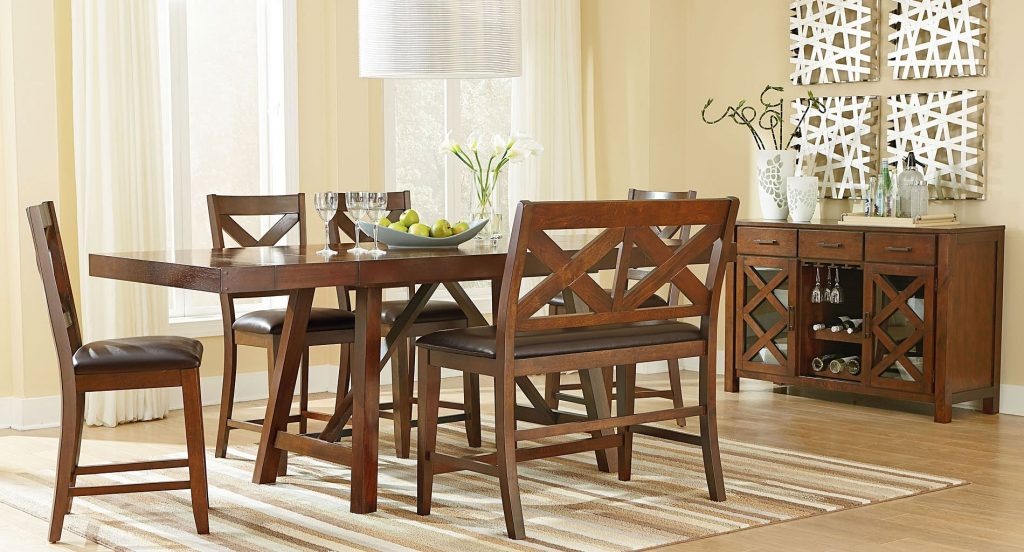 Omaha Counter Height Dining Set W Bench Brown Dining Room And