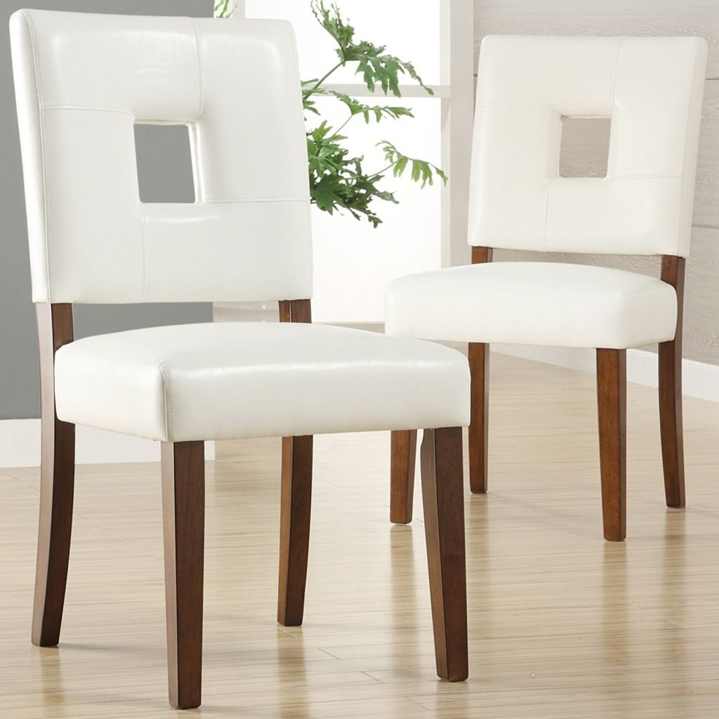 Oxford Creek Dining Chairs In White Faux Leather Set Of 2 Wooden