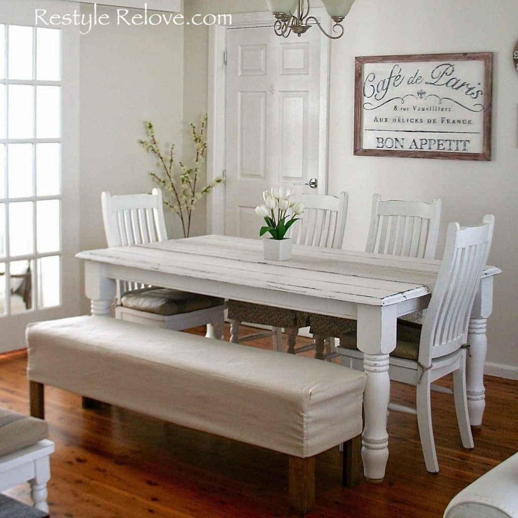 Padded Dining Room Bench Seat With Removable Washable Drop Cloth