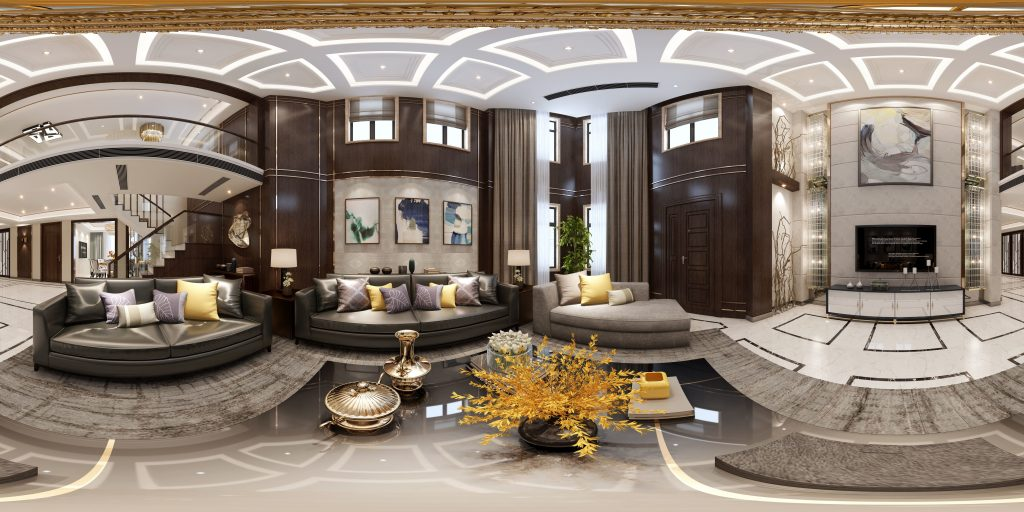 Panoramic Neo Classical Style Living Room Restaurant 3d Model Max